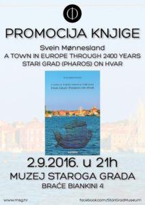 "Promocija knjige Sveina Mønneslanda ""A town in Europe through 2400 years - Stari Grad (Pharos) on Hvar"""